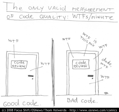 The only valid measurement of code quality: WTFs/minute - CODE REVIEW: WTF, WTF = good code - CODE REVIEW: WTF, WTF IS THIS SHIT, WTF, dude, WTF, WTF = bad code